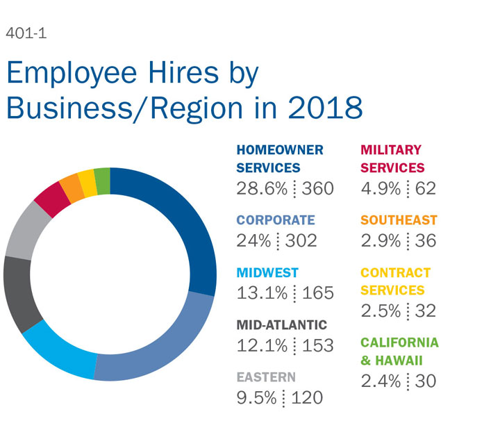 Employee Hires by Business/Region in 2018