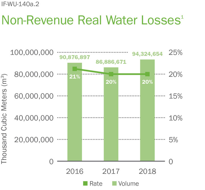 chart non-revenues total water losses